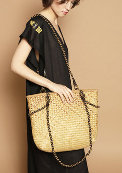 straw basket bag with straps