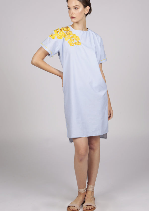 poplin cotton blue midi dress