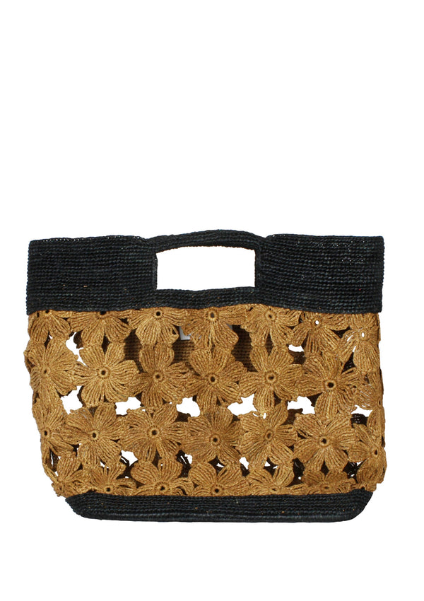 brown sustainable floral raffia bag for sale