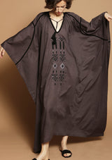 JOSEPH brown maxi beach kaftan dress with handmade embroidery