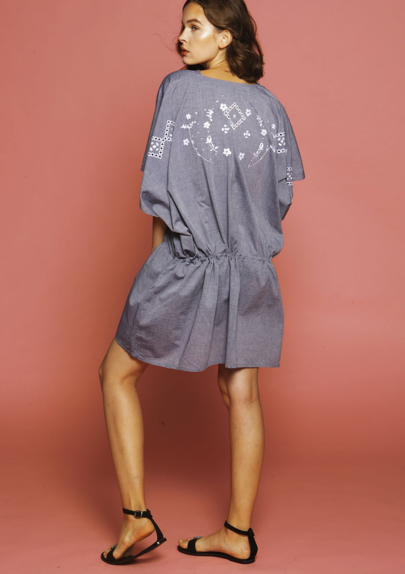 HARY hand-embroidered grey cotton cover-up dress