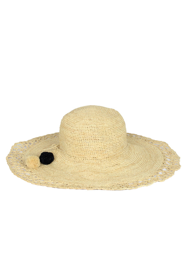 ANAIS large raffia Sun hat in natural beige