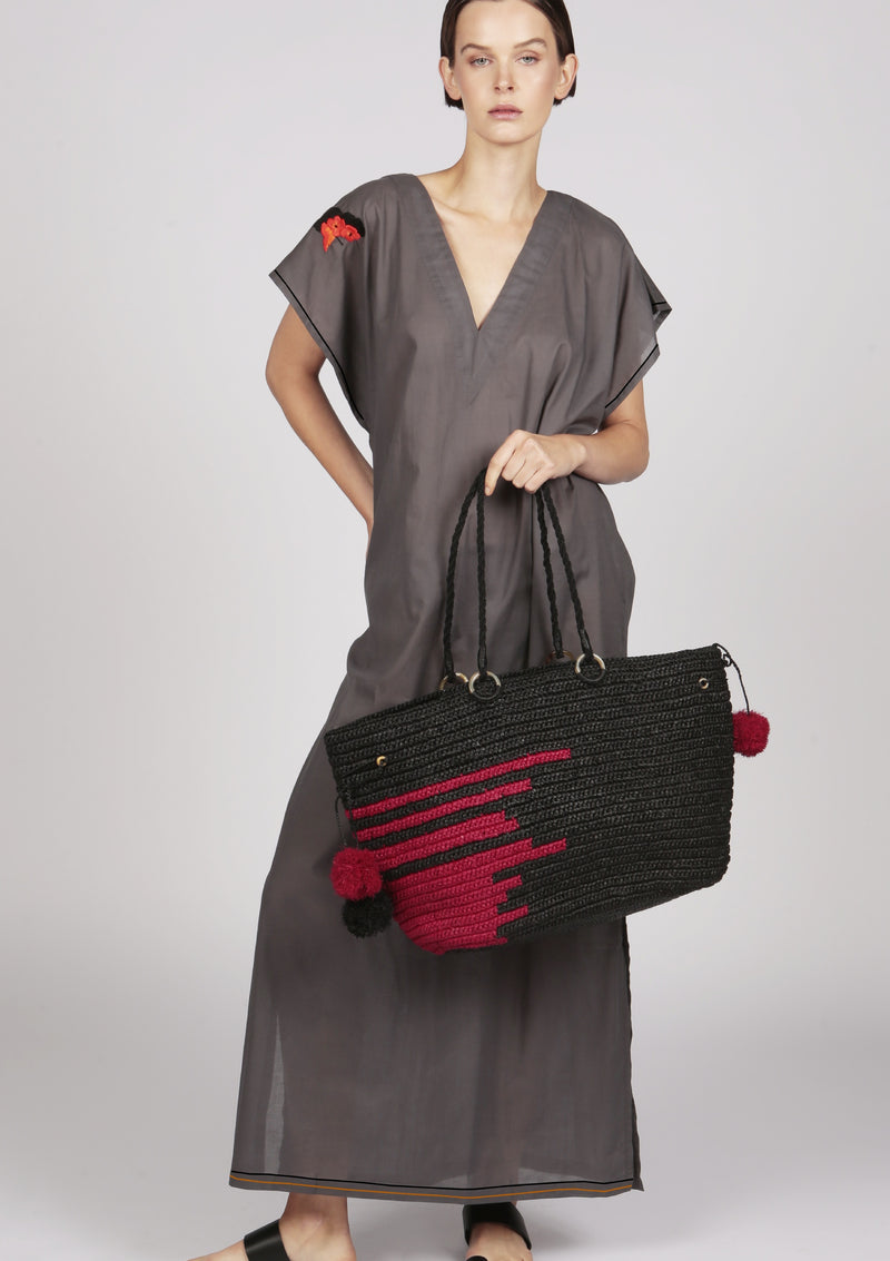 Maraina-London black tote beach raffia bag