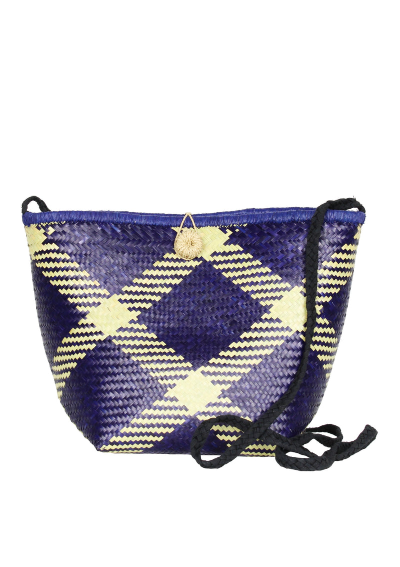 GIANNA blue cross-body woven basket bag