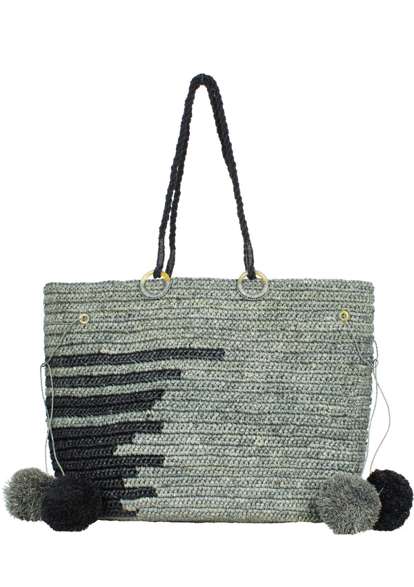 EMMANUEL large raffia beach tote bag in grey