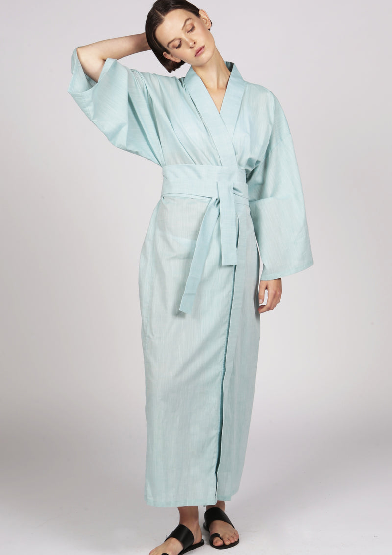 green kimono style robe resortwear cotton made