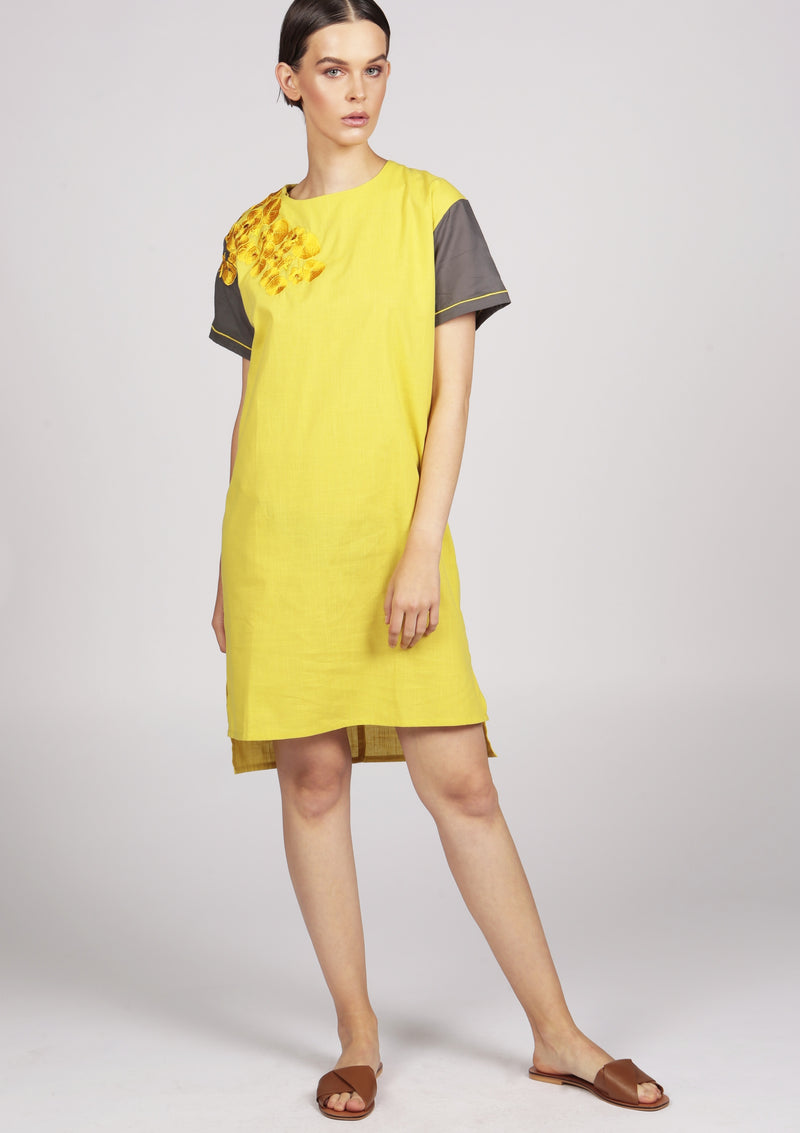 casual chic yellow dress with embroidery