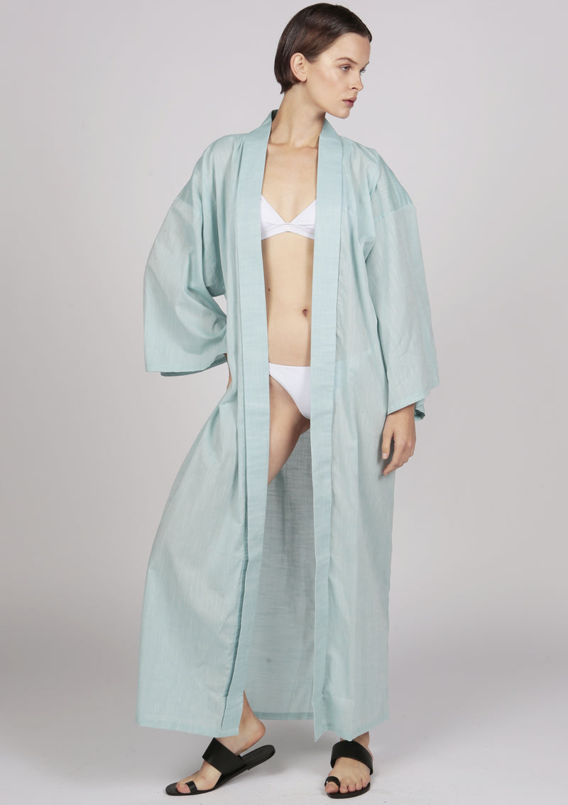 embroidered kimono style robe cotton