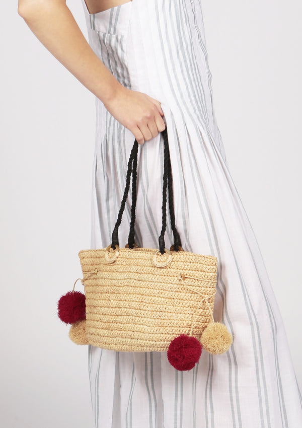 JUNE raffia beach tote bag with pompoms in natural beige