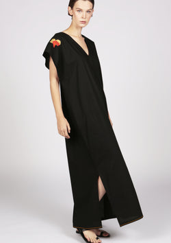 black kaftan dress with handmade embroidery