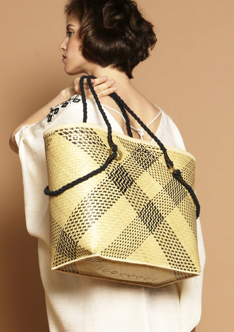 large straw basket bag