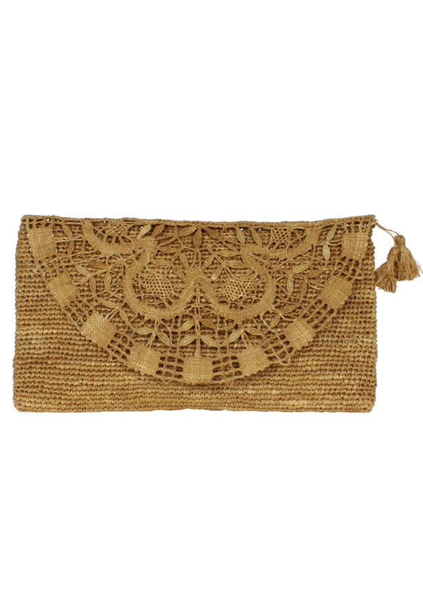 brown raffia needle lace clutch bag