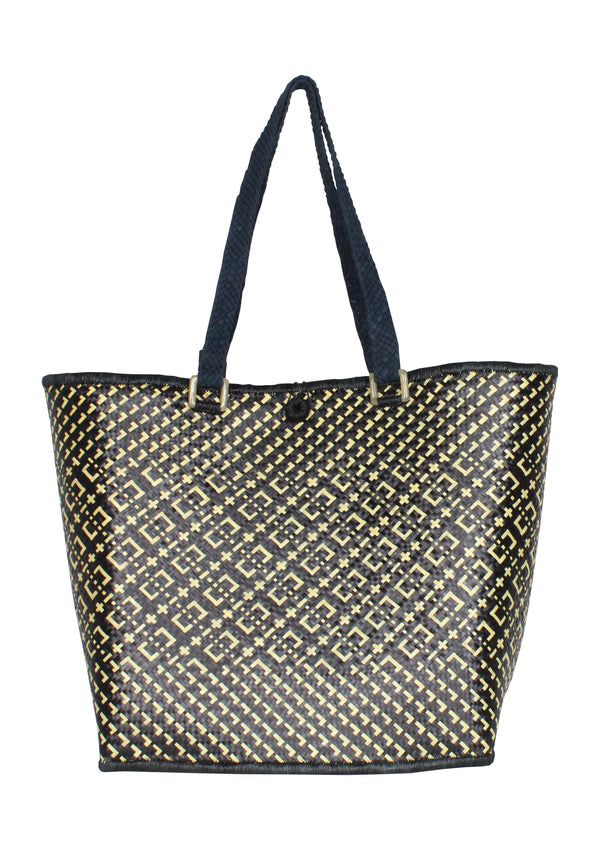 black straw basket bag