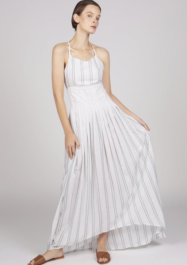 white striped pleated dress with dip hem