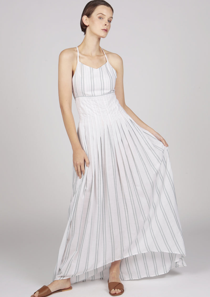 Maraina-London white striped pleated dress with dip hem