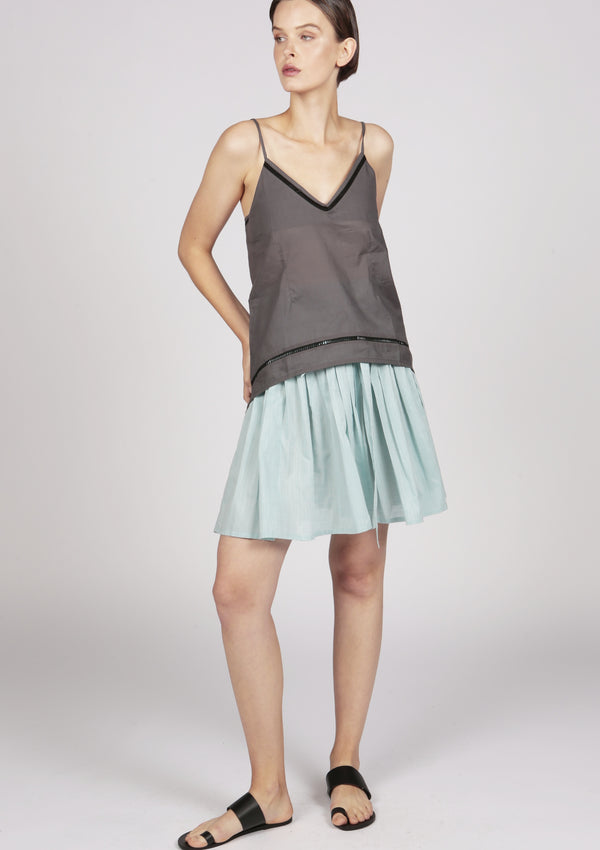 embroidered grey cami top with lace trim