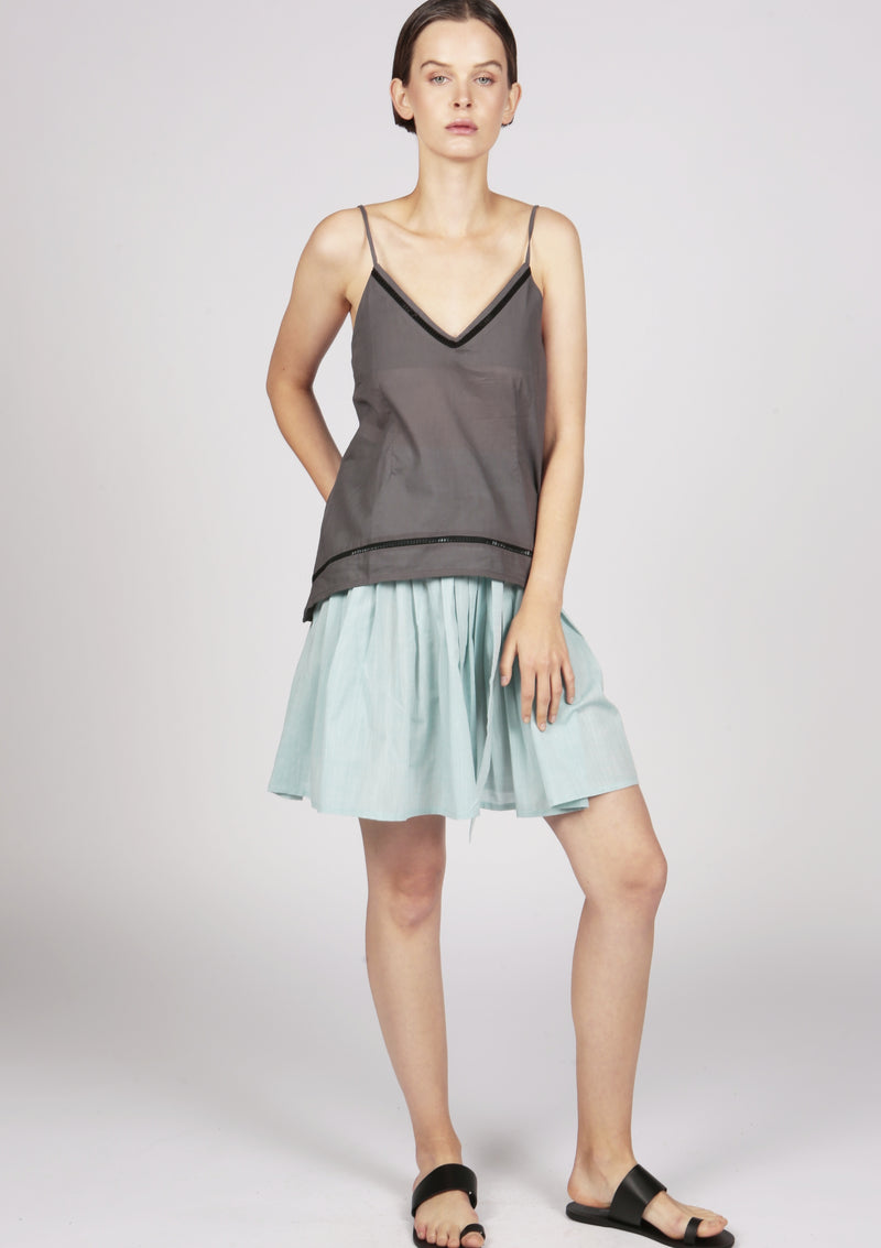 grey cotton cami top london designer
