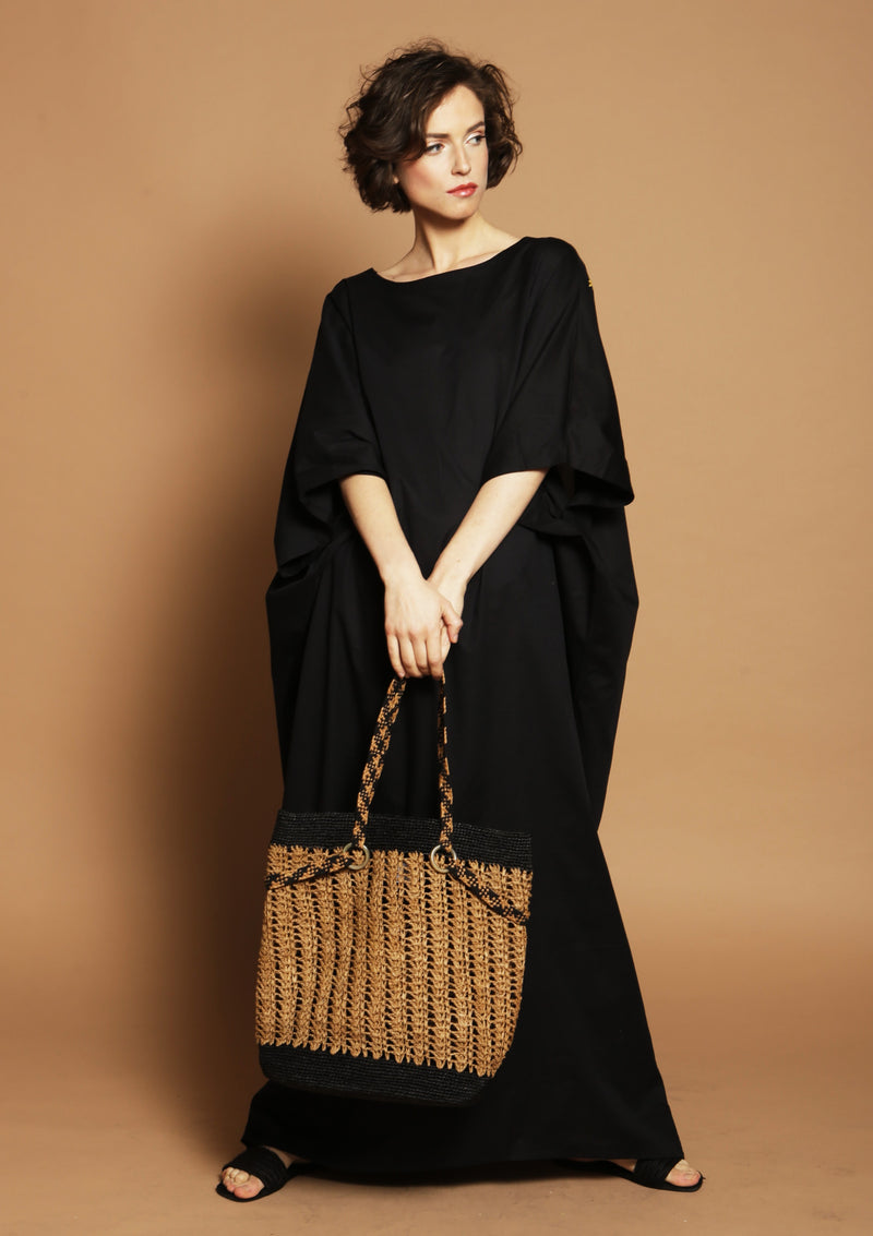 resortwear dress and raffia beach tote bag