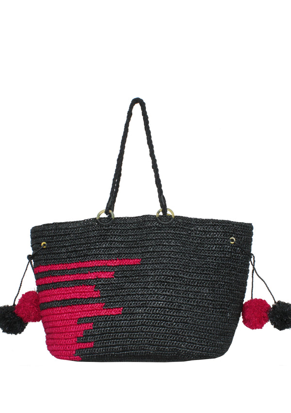 raffia black tote bag