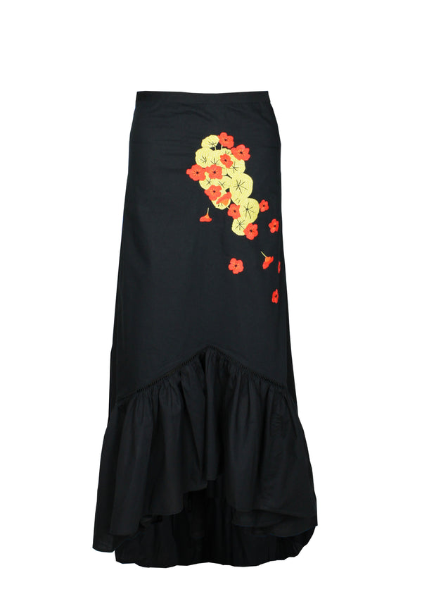MALLORIE cotton midi skirt with ruffle hem and handmade embroidery- in black