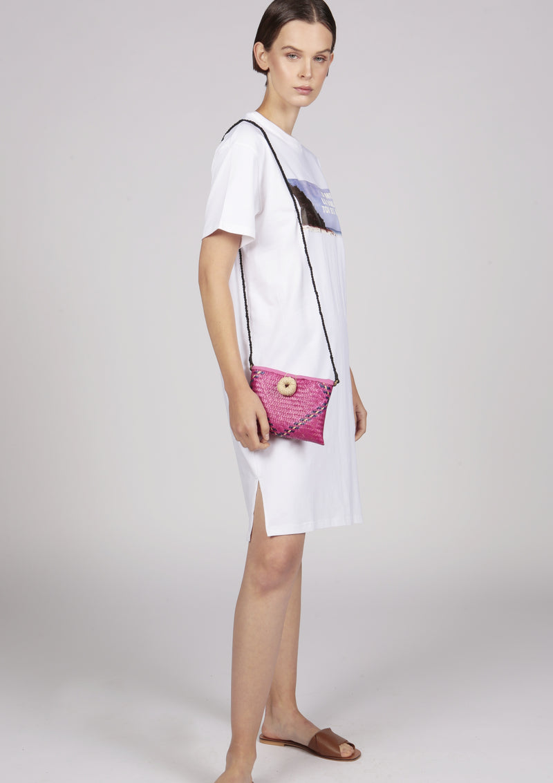 designer pink straw clutch crossbody oversized button