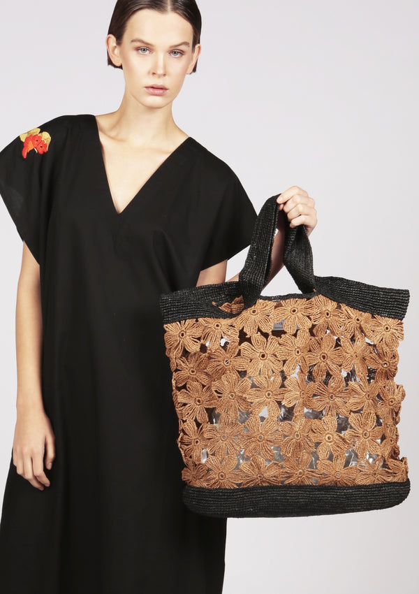 brown beach raffia tote bag