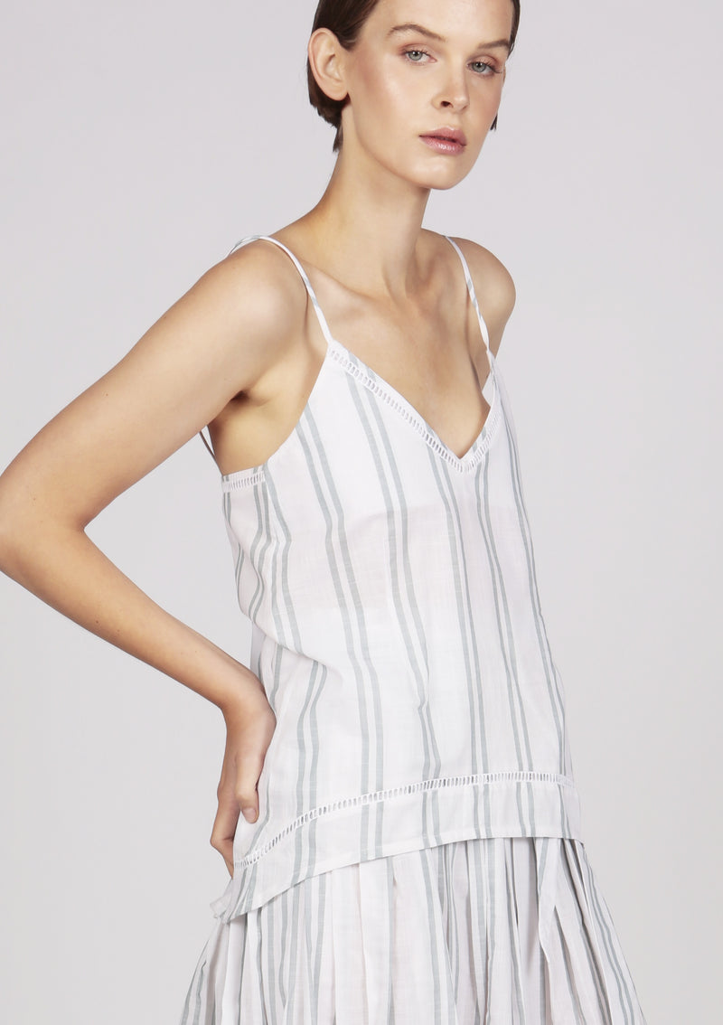 camisole womenswear cotton white striped eyelet-lace trim embroidered