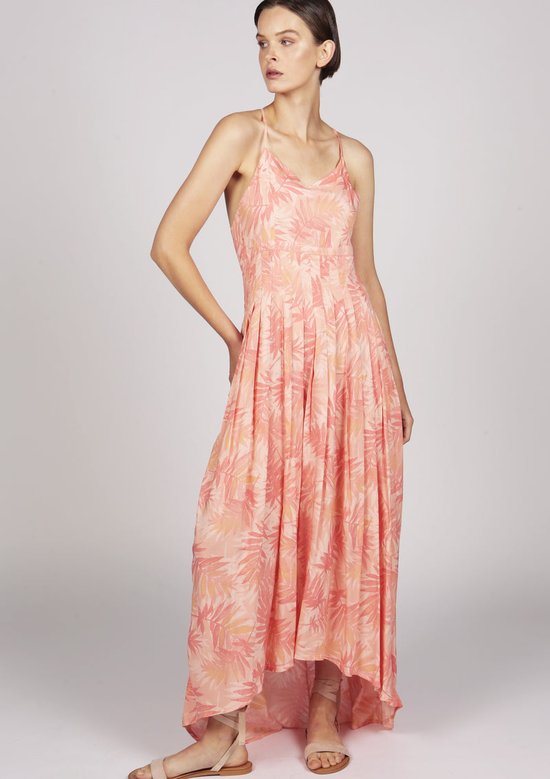 printed pink pleated dress