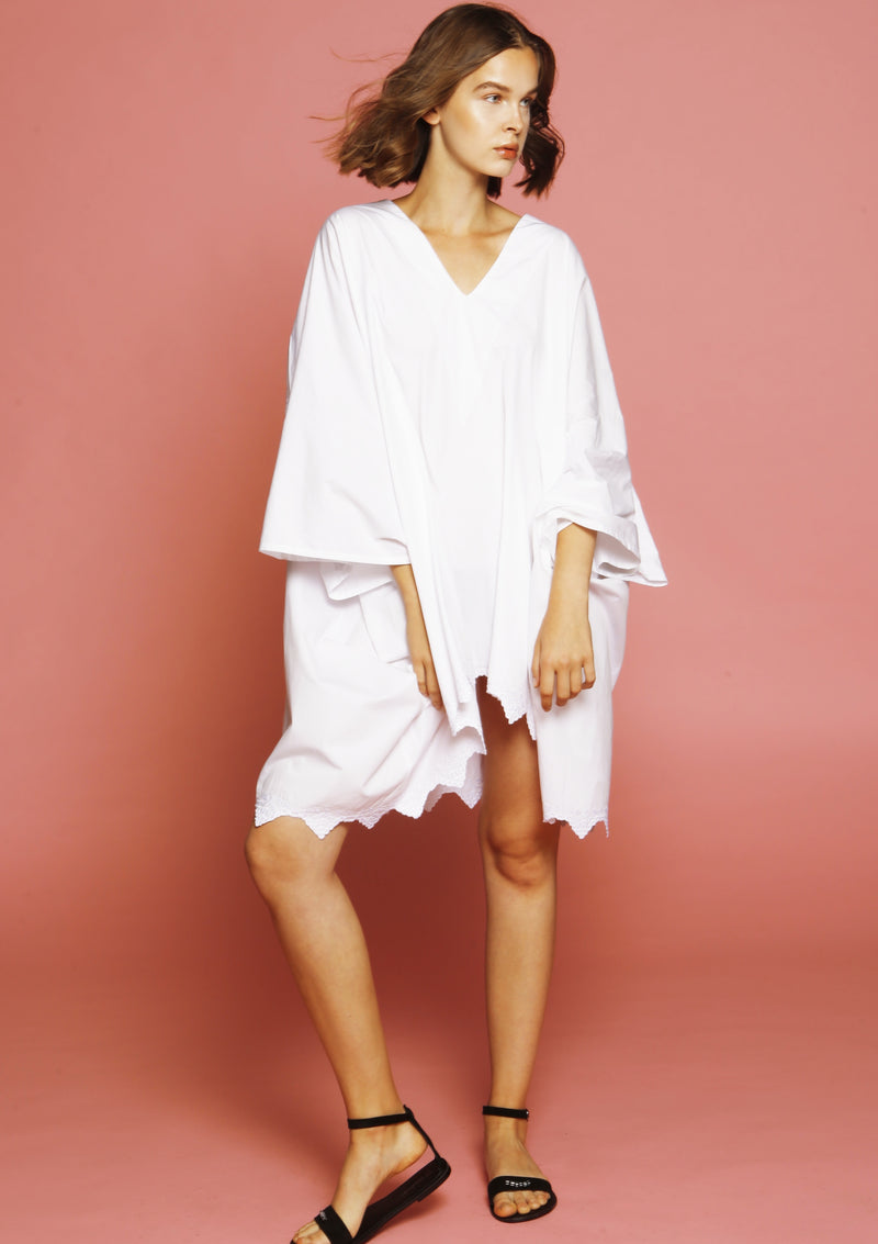 SAKAY hand-embroidered white oversized cotton cover-up dress