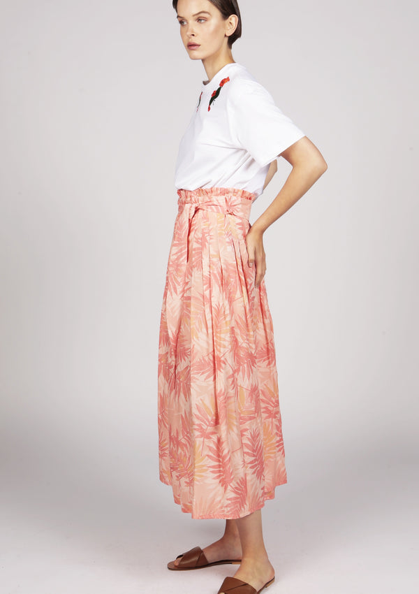 flowy pleated midi skirt