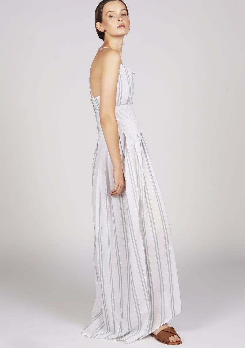 Maraina-London pleated cotton maxi dress