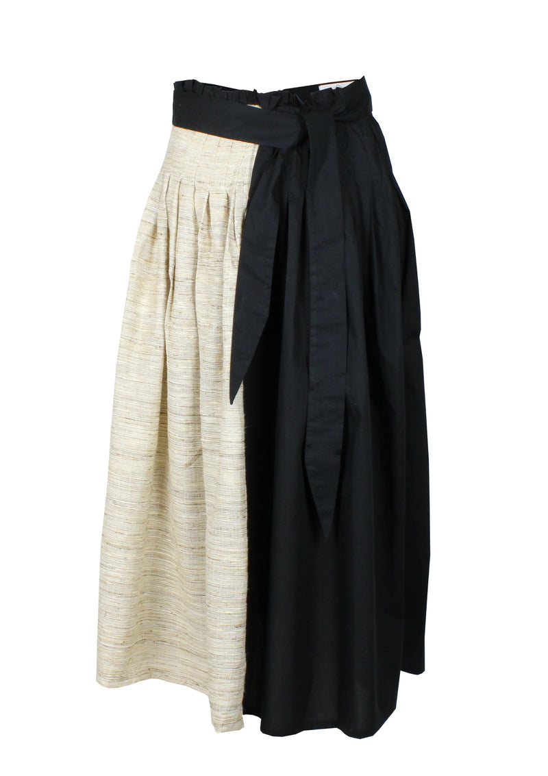FELIPA raw silk pleated midi skirt in black and brown