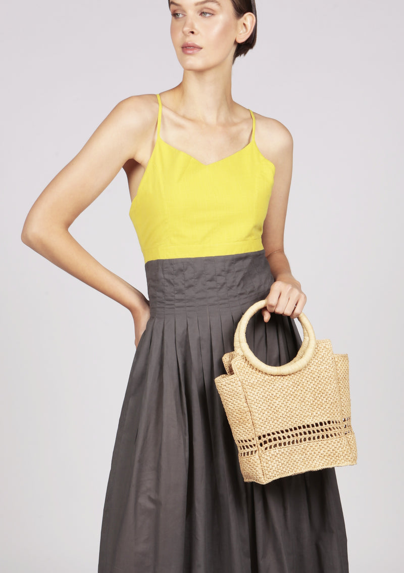 MARGUERITE Grey and yellow pleated dip-hem maxi cocktail dress