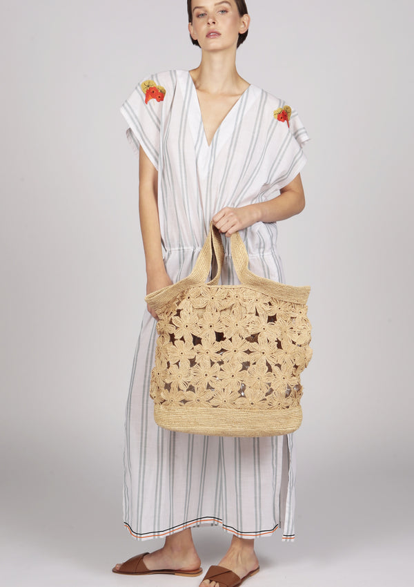 large raffia flower bag tote