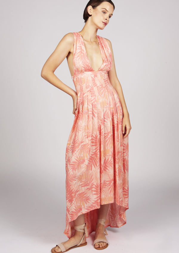 pink flowy pleated dress