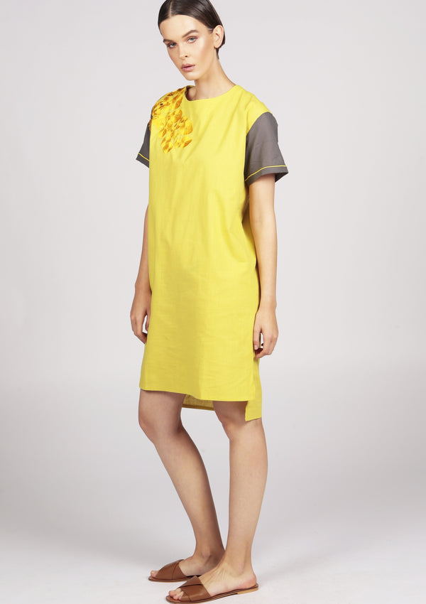 yellow embroidered midi dress