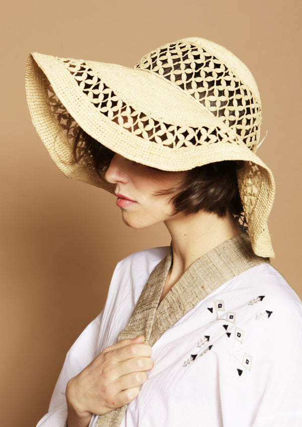 CHRISTIE large raffia Sun hat - Natural