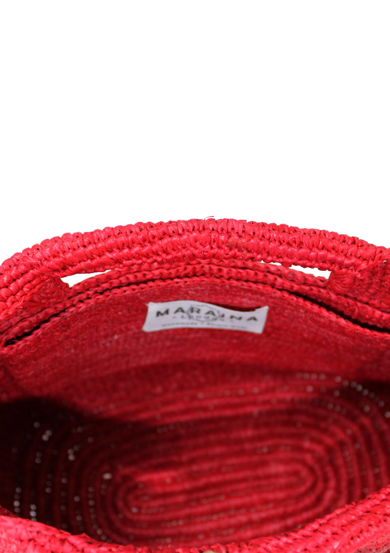 raffia beach bag in red