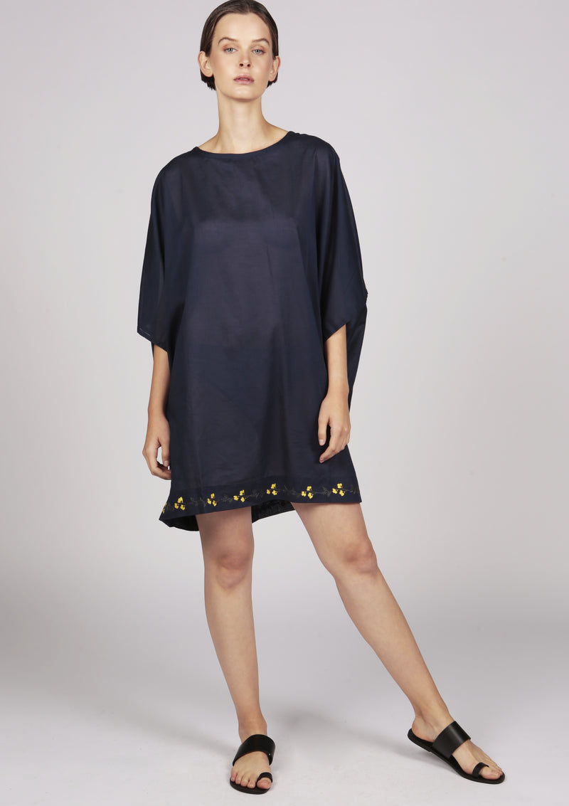 blue embroidered cover-up dress
