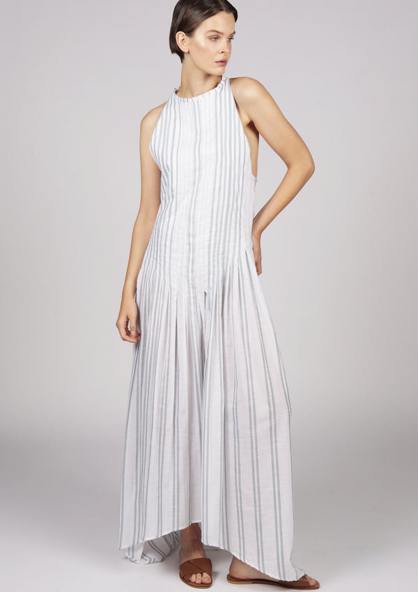 white striped pleated dress
