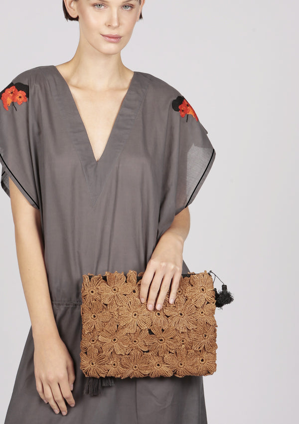 brown raffia clutch for tablet