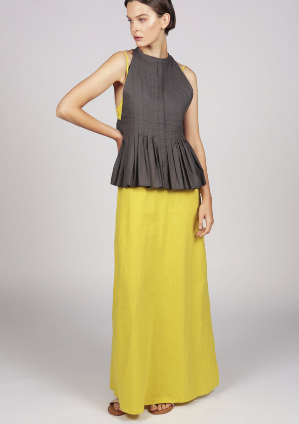 designer pleated maxi dress in yellow and grey