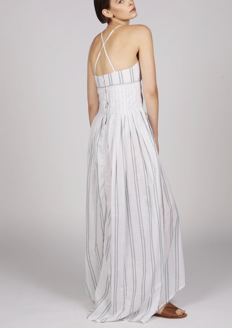 pleated white maxi evening dress