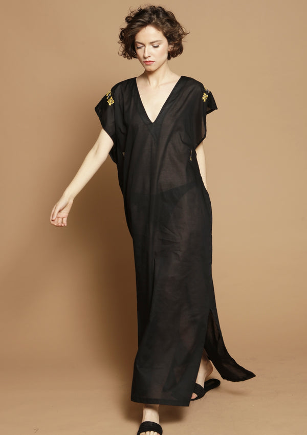black kaftan beach dress