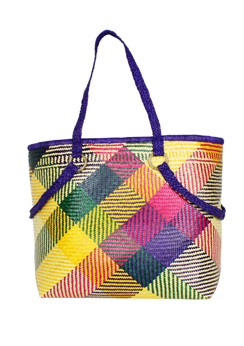Daphne multi-color large straw basket bag