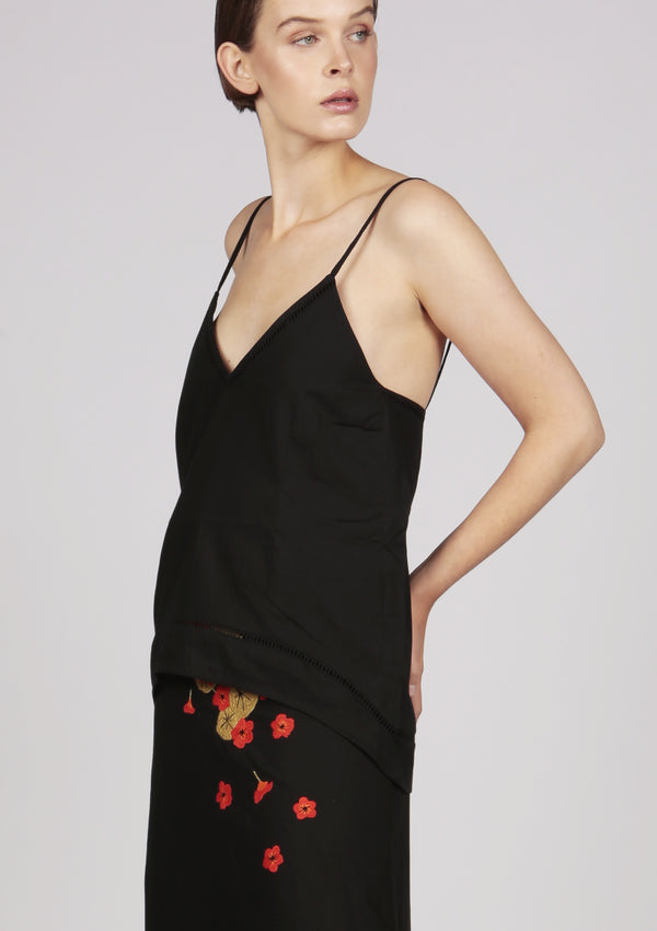 black embroidered cami top