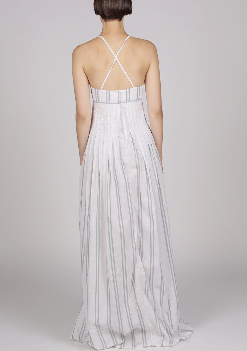 Maraina-London maxi evening cocktail pleated cotton dress designed in london