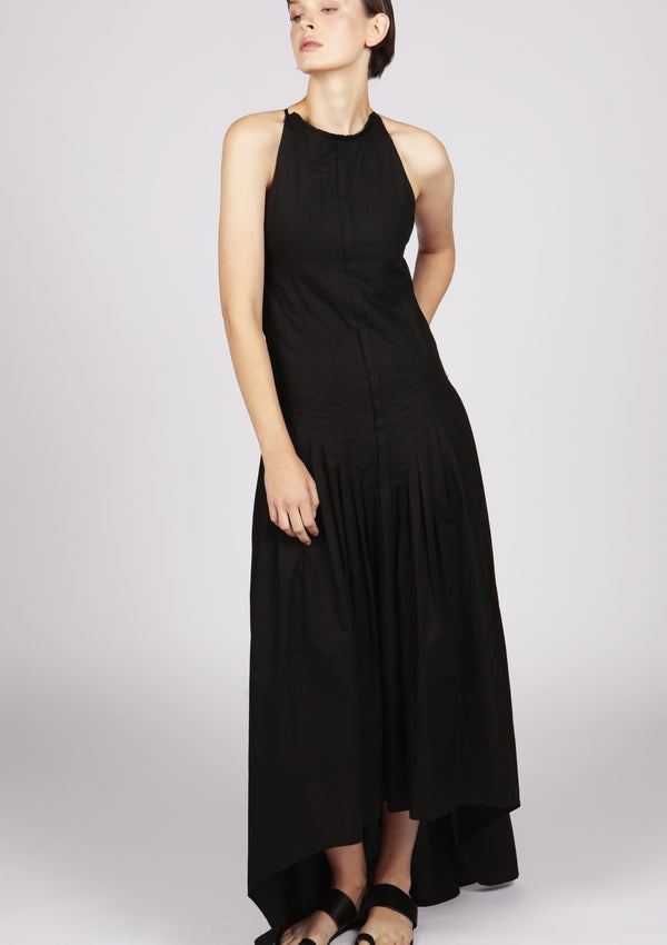 evening dress slender straps dip hem in black