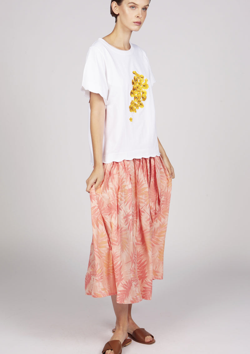 embroidered tshirt with pleated skirt