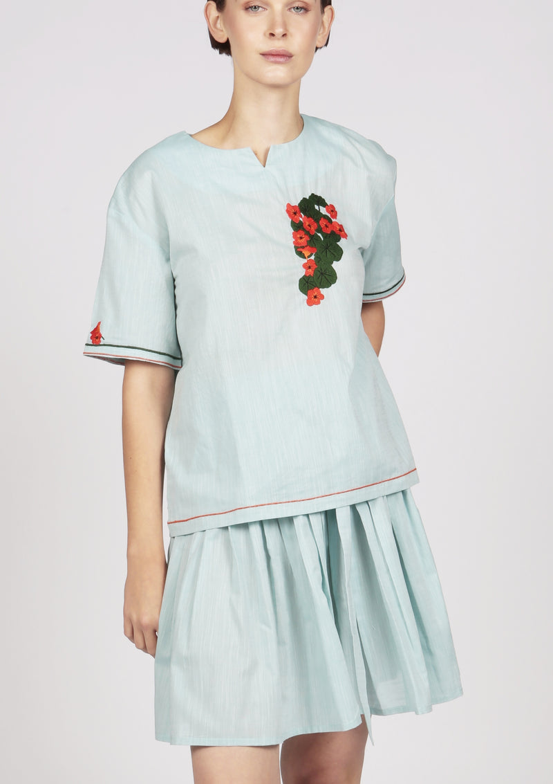 cotton blouse with handmade embroidery
